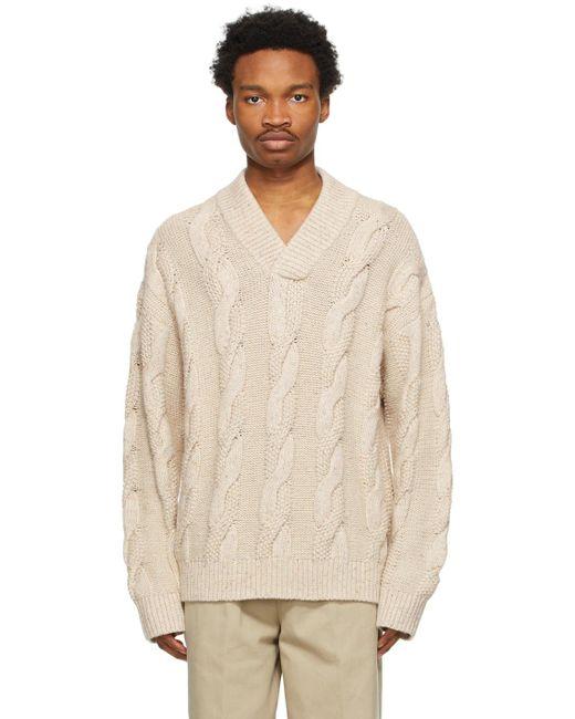 メンズ Acne ベージュ Cable Knit V ネック セーター Natural