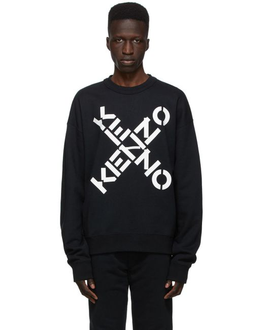 メンズ KENZO ブラック Sport ロゴ スウェットシャツ Black