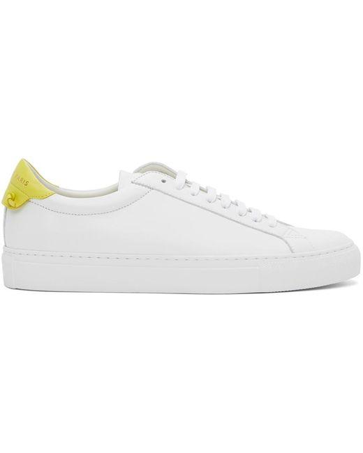 メンズ Givenchy ホワイト & イエロー Urban Knots レザー スニーカー White