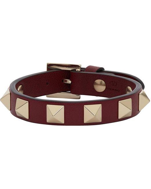 Bracelet bourgogne Rockstud Valentino Garavani en coloris Multicolor