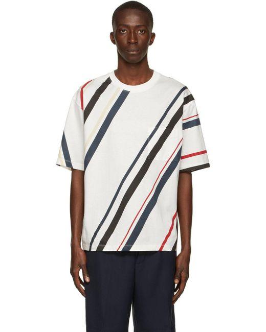 メンズ 3.1 Phillip Lim ホワイト ストライプ ポケット T シャツ White