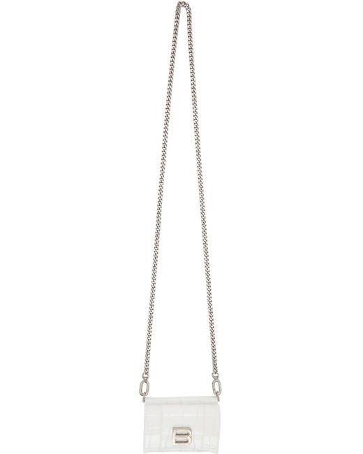Balenciaga ホワイト クロコ ミニ Hourglass ウォレット バッグ White