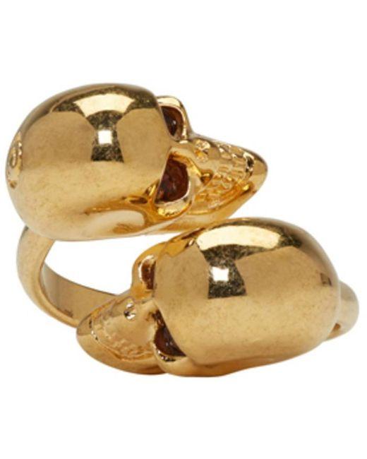 Alexander McQueen | Metallic Gold Twin Skull Ring | Lyst