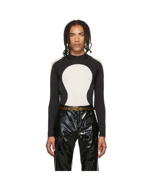 メンズ Sankuanz ブラック And オフホワイト カラーブロック ロング スリーブ T シャツ Black