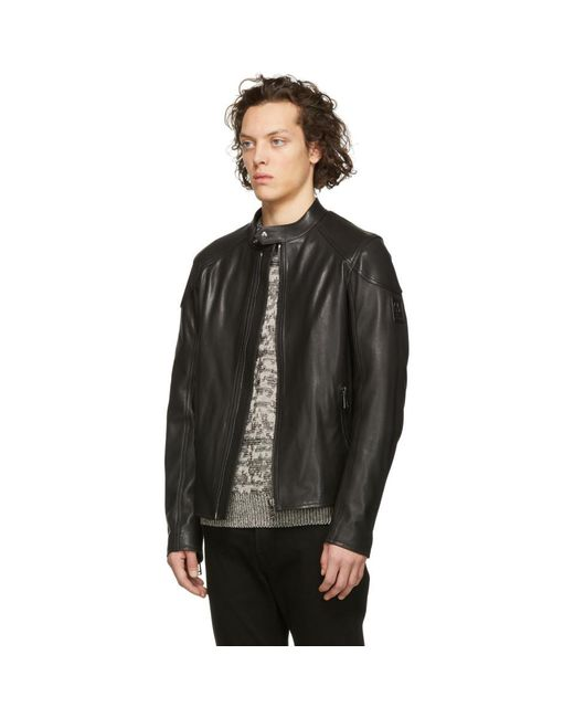 92158808dc6 ... Belstaff - Black Leather B Racer Jacket for Men - Lyst ...