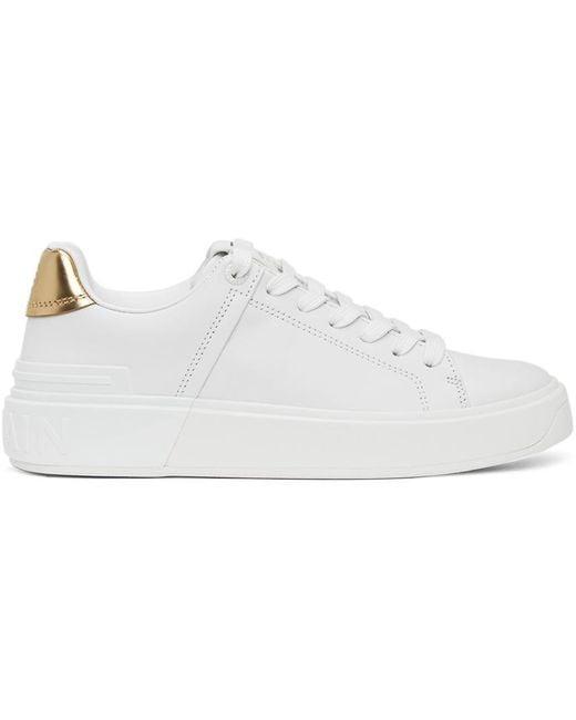 Balmain ホワイト & ゴールド B-court スニーカー White