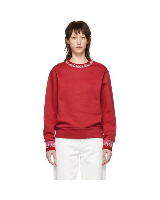 Moncler レッド ロゴ スウェットシャツ Red