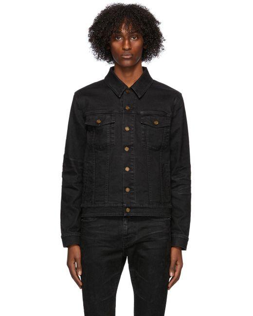 メンズ Saint Laurent ブラック デニム クラシック ジャケット Black