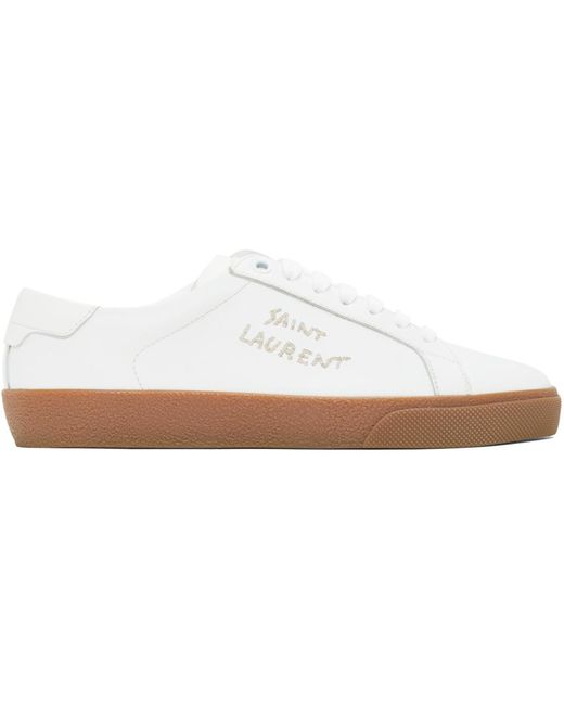 Saint Laurent White & Brown Court Classic Sneakers