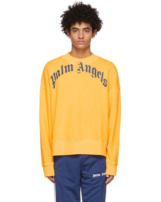 メンズ Palm Angels イエロー ロゴ スウェットシャツ Yellow