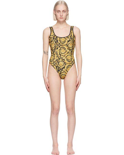 Versace ブラック & イエロー Barocco ワンピース スイムスーツ Yellow