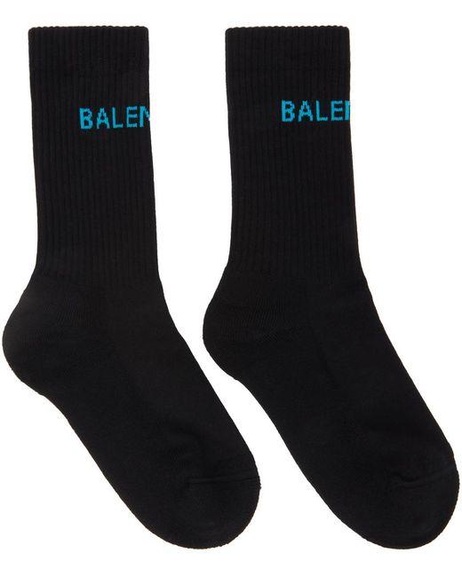 Balenciaga ブラック & ブルー Logo Tennis ソックス Black