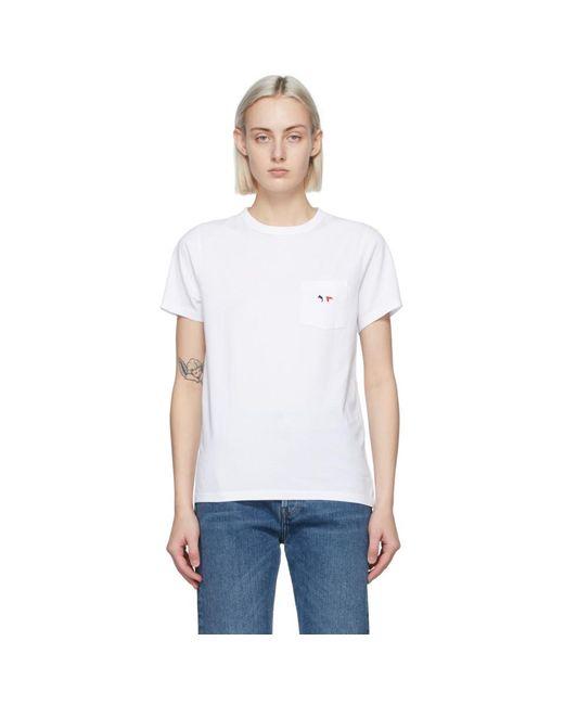 Maison Kitsuné ホワイト Tricolor Fox Patch ポケット T シャツ White