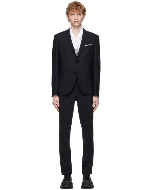 メンズ Neil Barrett ネイビー スリム トラベル スーツ Blue
