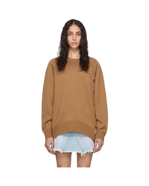 Givenchy ブラウン ウール オーバーサイズ ボタン クルーネック Natural
