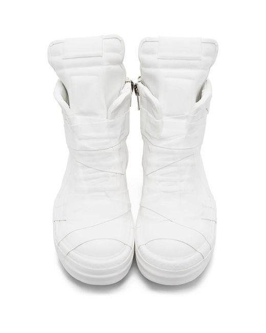 メンズ Rick Owens ホワイト ラバー Geobasket ハイトップ スニーカー White