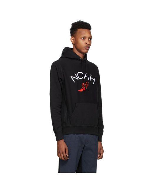 メンズ Noah NYC ブラック Winged Foot フーディ Black