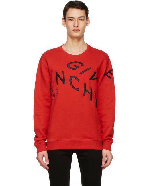メンズ Givenchy レッド Embroidered Refracted スウェットシャツ