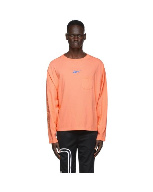 REEBOK X PYER MOSS Multicolor Pink Pocket Long Sleeve T-shirt for men