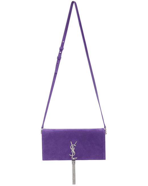 Saint Laurent パープル スエード ミディアム Kate 99 Tassel バッグ Purple