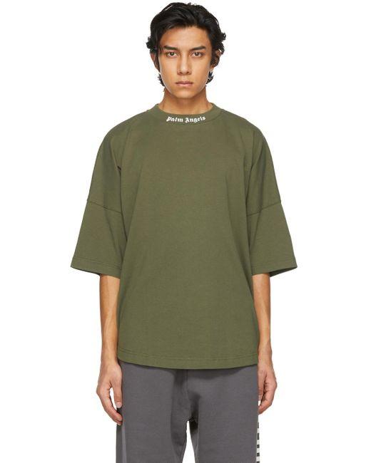 メンズ Palm Angels カーキ ダブル ロゴ T シャツ Green