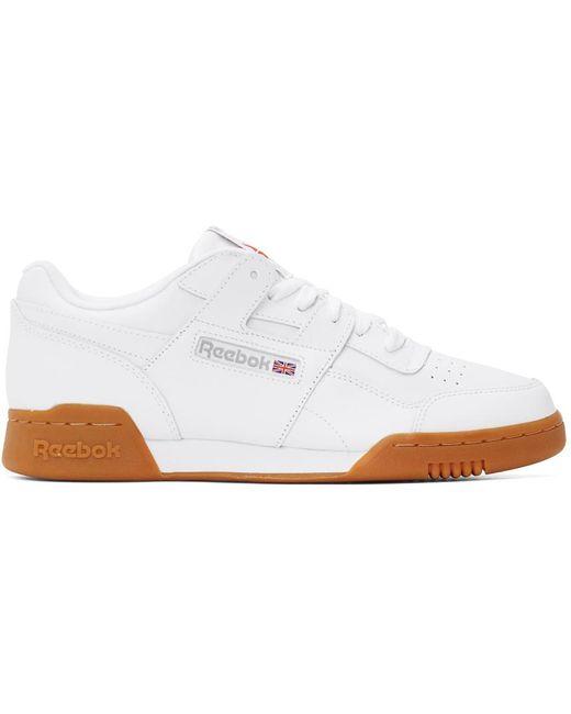 メンズ Reebok ホワイト Workout Plus レザー スニーカー White
