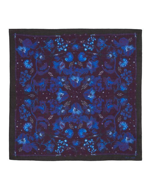 メンズ Paul Smith ブルー Beetle Botanical ポケット チーフ Blue