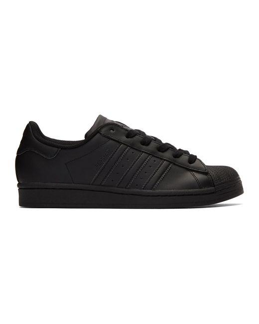 メンズ Adidas Originals ブラック スーパースター スニーカー Black