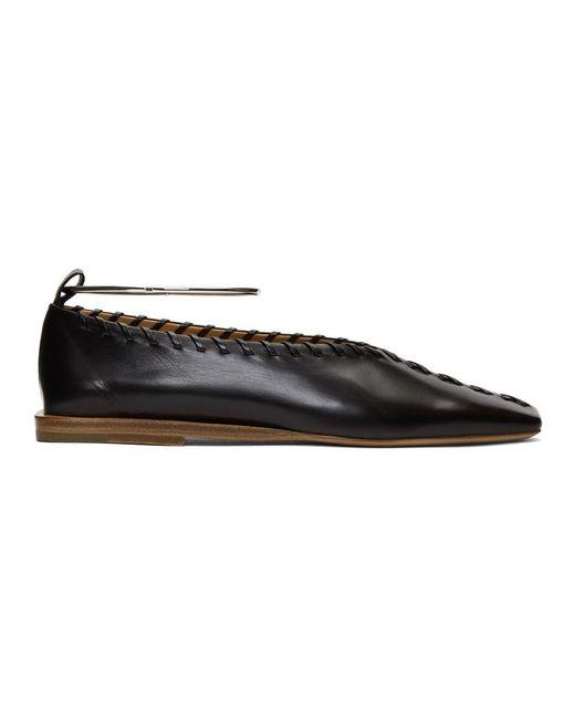 Jil Sander Black Whipstitch Anklet Ballerina Flats