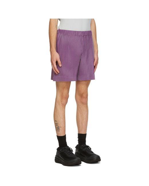 メンズ Homme Plissé Issey Miyake パープル Gingham Hologram ショーツ Purple