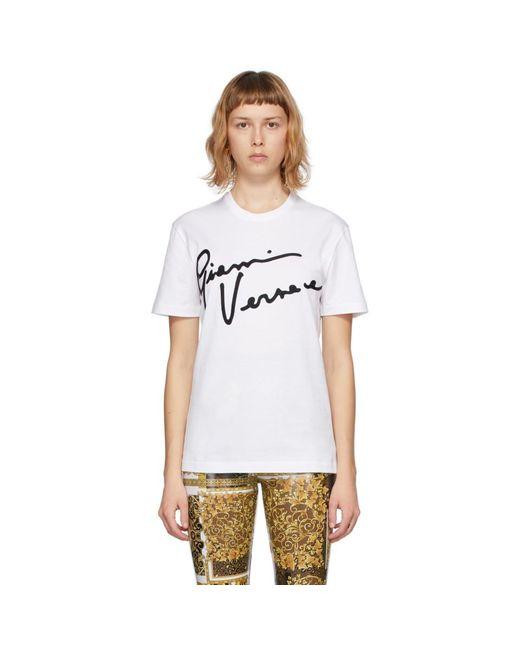 Versace ホワイト Gv シグネチャ T シャツ White
