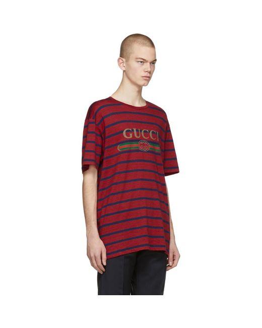 メンズ Gucci レッド ストライプ ロゴ T シャツ Red
