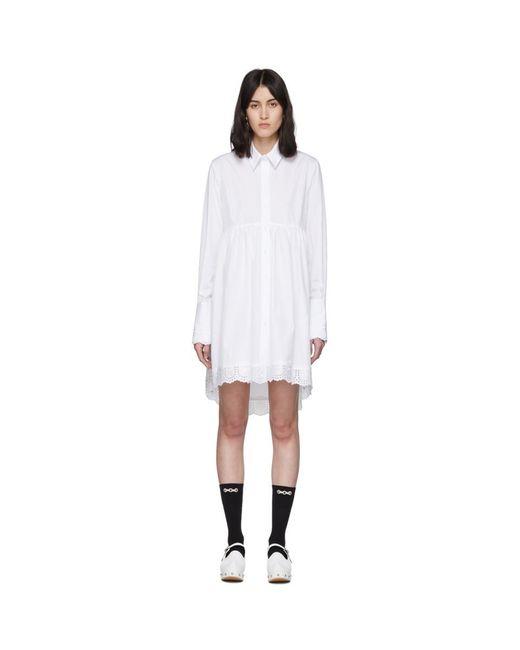 Simone Rocha ホワイト ポプリン フロック シャツ White