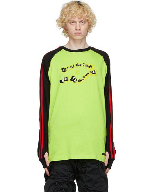 メンズ 99% Is ブラック & イエロー ラグラン ロング スリーブ T シャツ Yellow