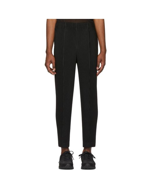 Homme Plissé Issey Miyake Black Tapered Tailored Trousers for men