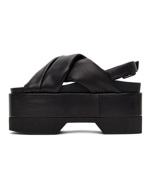 Simone Rocha ブラック クロス ストラップ プラットフォーム サンダル Black