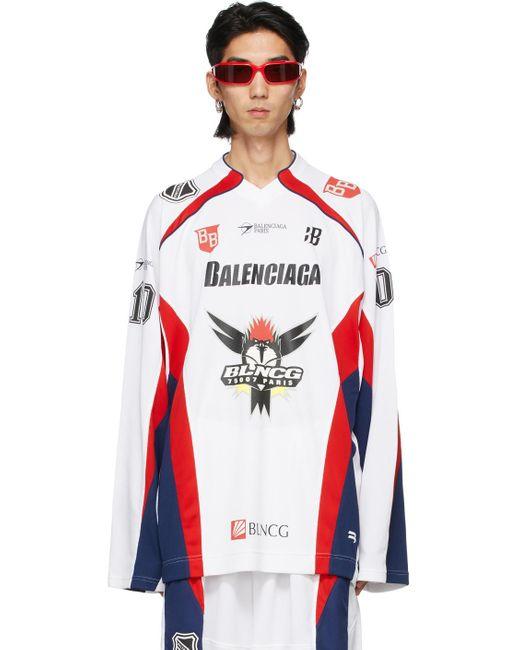 メンズ Balenciaga ホワイト Hockey ロング スリーブ T シャツ White