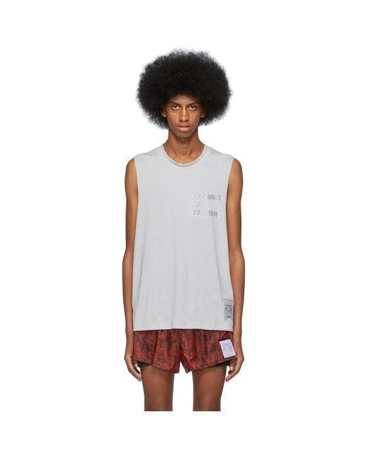メンズ Satisfy グレー ライト マッスル スリーブレス T シャツ Gray