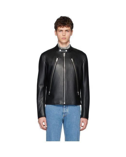 メンズ Maison Margiela ブラック レザー スポーツ ジャケット Black