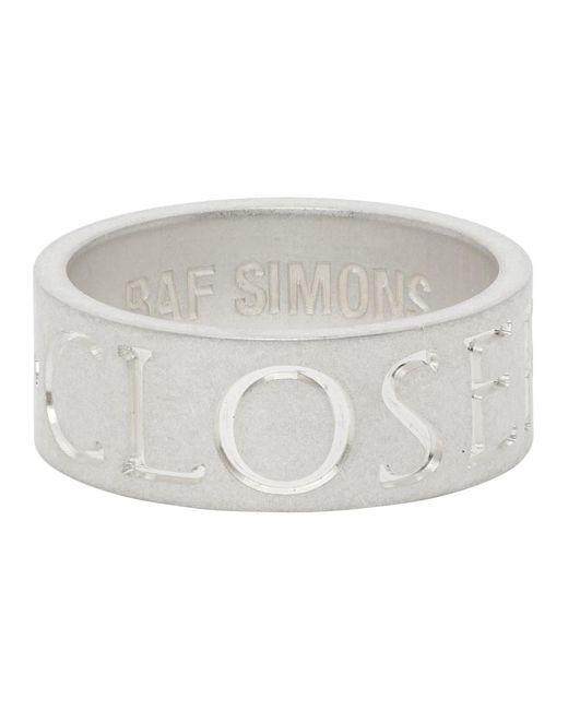 メンズ Raf Simons Archive Redux コレクション シルバー Closer リング Metallic