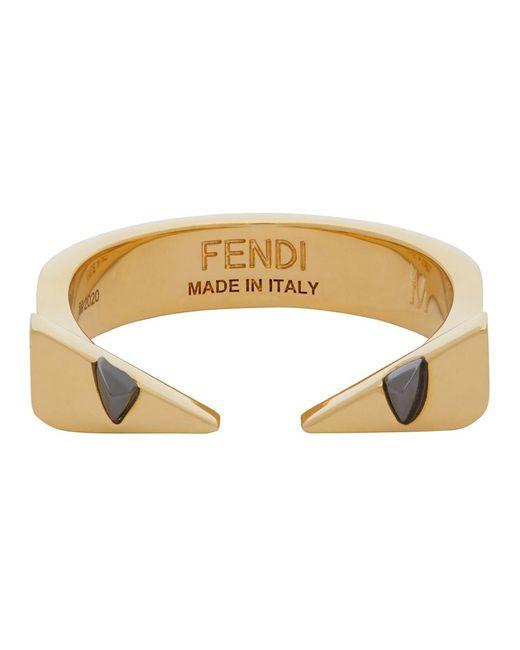 メンズ Fendi ゴールド Bug Eyes リング Metallic
