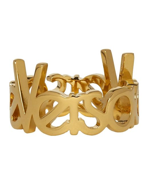 Versace ゴールド ロゴ リング Metallic