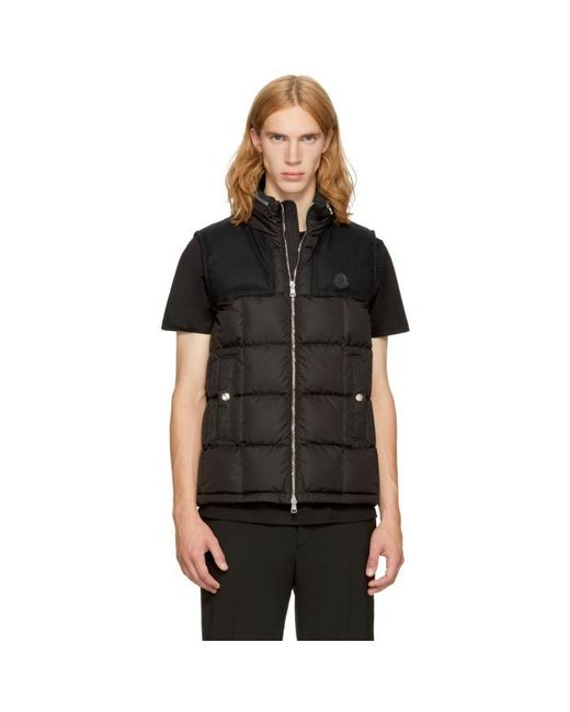 Moncler | Black Down Cesar Vest for Men | Lyst