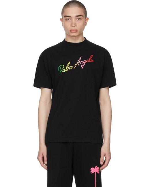 メンズ Palm Angels ブラック ロゴ T シャツ Black