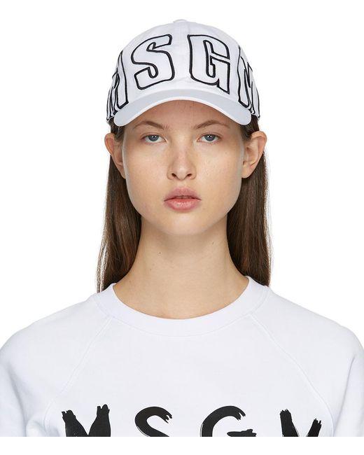 MSGM ホワイト ロゴ キャップ White