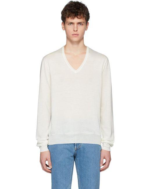 メンズ Maison Margiela オフホワイト スプライス セーター White