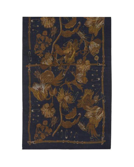 メンズ Paul Smith ネイビー And タン Beetle Botanical スカーフ Blue