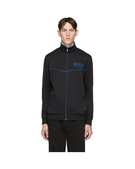 メンズ BOSS ブラック トラックスーツ ジップアップ セーター Black