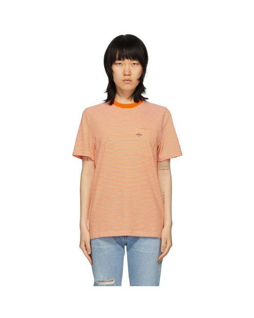Noah NYC オレンジ ストライプ ポケット T シャツ Orange