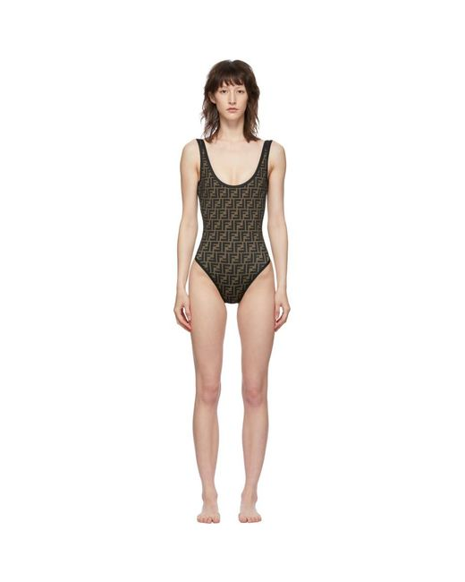 Fendi Reversible Black Forever One-piece Swimsuit